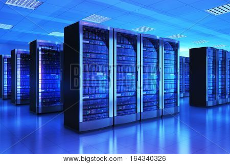 3D render illustration of the server room interior in datacenter in blue light