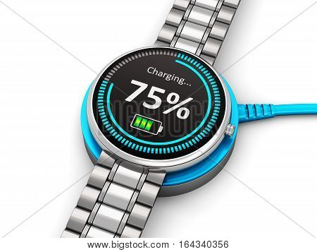 3D render illustration of stainless steel luxury digital smart watch or clock with color screen interface and titanium bracelet charging battery on wireless electronic charger isolated on white background