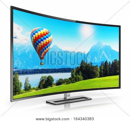 3D render illustration of curved OLED 4K UltraHD TV or computer PC monitor display with colorful picture nature landscape isolated on white background with reflection effect