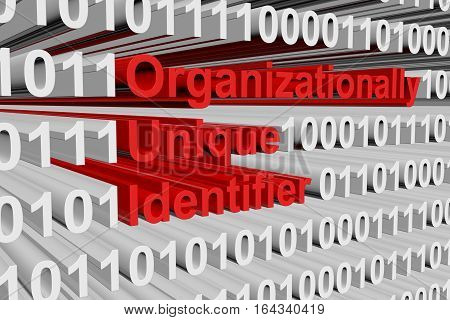 Organizationally Unique Identifier in the form of binary code, 3D illustration