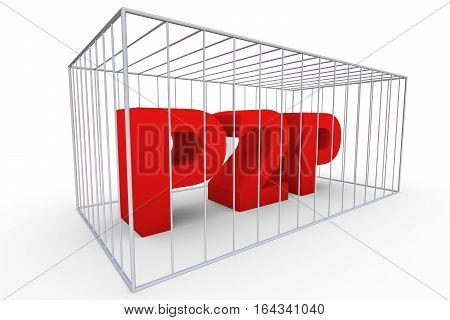 p2p in the cell means a ban 3d illustration