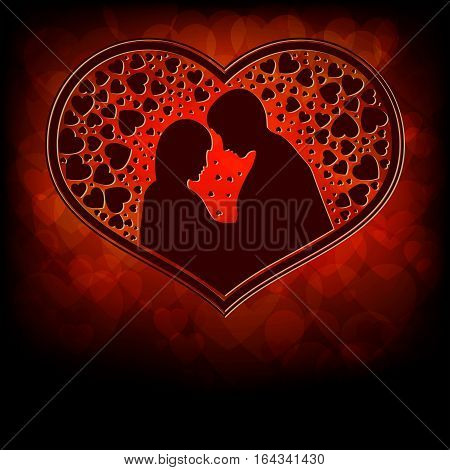 A design from silhouettes of lovers a boy and girl snuggled up to each other, inside the heart pattern on a red background