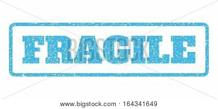 Light Blue rubber seal stamp with Fragile text. Vector tag inside rounded rectangular banner. Grunge design and scratched texture for watermark labels. Horisontal emblem on a white background.