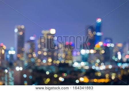 City blurred ligths office building night view abstract background
