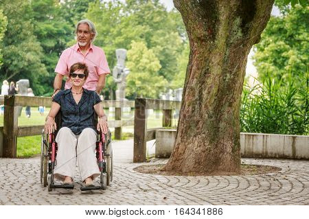 Senior couple in wheelchair, enjoying a day outdoors in the park