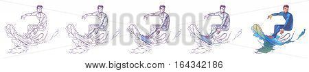 Set vector illustration of a surfer riding a big wave. Print for T-shirts