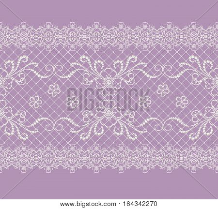 Seamless pattern border. Openwork weaving delicate silver background shiny lace vintage old style arabesques. Edging decorative. Pearl thread beads.