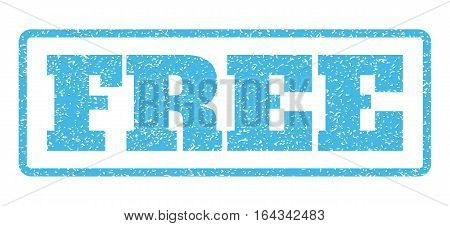 Light Blue rubber seal stamp with Free text. Vector tag inside rounded rectangular banner. Grunge design and dirty texture for watermark labels. Horisontal sticker on a white background.