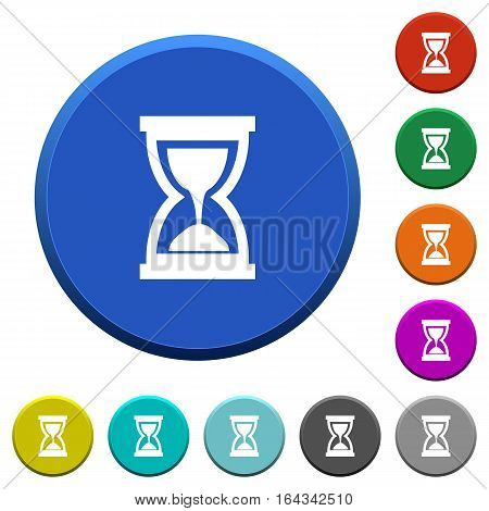 Hourglass round color beveled buttons with smooth surfaces and flat white icons