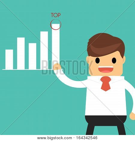 Businessman Presenting and pointing business growth chart, flat style.