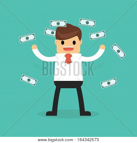 Businessman Happy With Money Flowing In The Air, Flat Style.