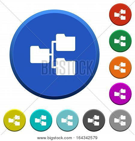 Shared folders round color beveled buttons with smooth surfaces and flat white icons