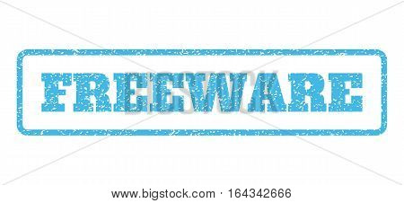 Light Blue rubber seal stamp with Freeware text. Vector message inside rounded rectangular shape. Grunge design and dirty texture for watermark labels. Horisontal sticker on a white background.