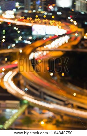 Blurred bokeh lights close up highway interchanged abstract background