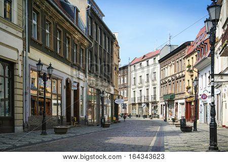 Bydgoszcz Poland - August 5 2012: Empty Long Street in Old Town in Bydgoszcz.