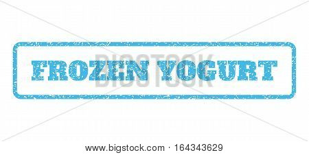 Light Blue rubber seal stamp with Frozen Yogurt text. Vector message inside rounded rectangular shape. Grunge design and unclean texture for watermark labels. Horisontal sticker on a white background.