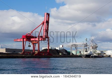 Gantry cranes in harbor on Osaka port harbor Japan
