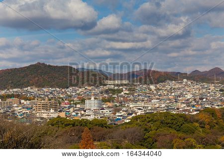 Top View of Himeji residence downtown from Himeji castle in Hyogo Kansai Japan