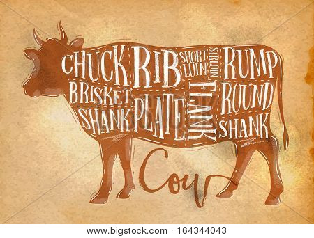 Poster beef cutting scheme lettering chuck brisket shank rib plate flank sirloin shortloin rump round shank in retro style drawing on craft paper background