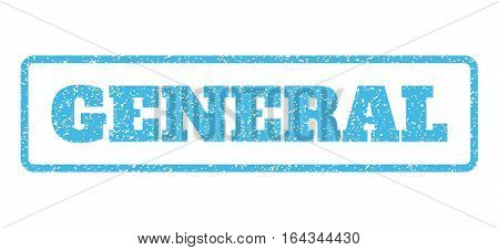 Light Blue rubber seal stamp with General text. Vector message inside rounded rectangular frame. Grunge design and unclean texture for watermark labels. Horisontal sticker on a white background.