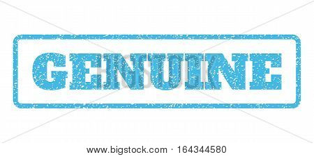 Light Blue rubber seal stamp with Genuine text. Vector message inside rounded rectangular shape. Grunge design and dirty texture for watermark labels. Horisontal emblem on a white background.