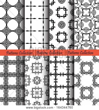 Backgrounds from squares set. Forged seamless patterns. Elegant ornament for damask wallpaper, fabric, paper print. Stylized floral vector. Black and white flourish motif. Unusual vintage vector
