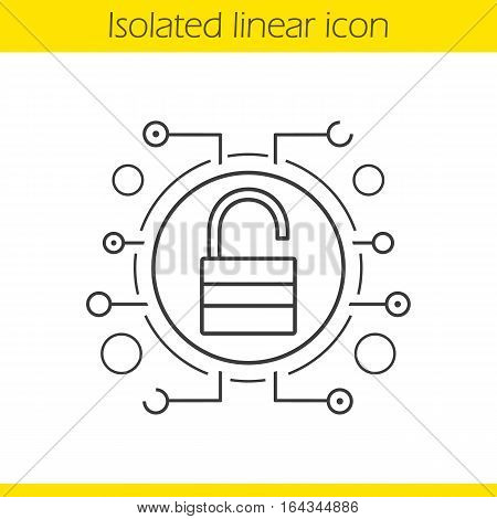 Cyber security linear icon. Thin line illustration. Unlock contour symbol. Access granted. Open padlock in microchip pathways. Vector isolated outline drawing