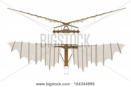 davinci voladora isolated on white. 3d rendering