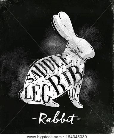 Poster rabbit cutting scheme lettering saddle leg rib in vintage style drawing with chalk on chalkboard background