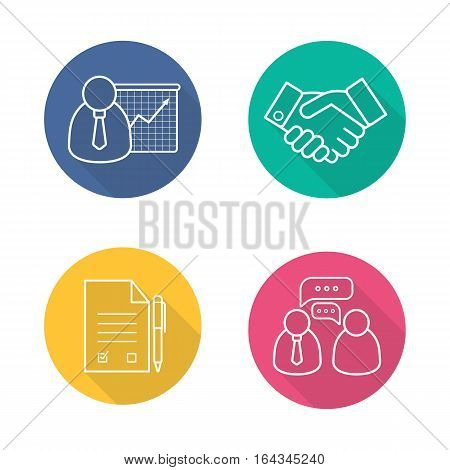Business flat linear long shadow icons set. Presentation with graph, handshake symbol, signed contract with pen, business talk. Vector line symbols