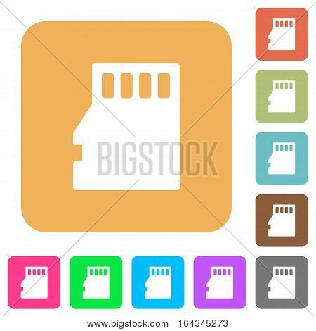 Micro SD memory card flat icons on rounded square vivid color backgrounds.