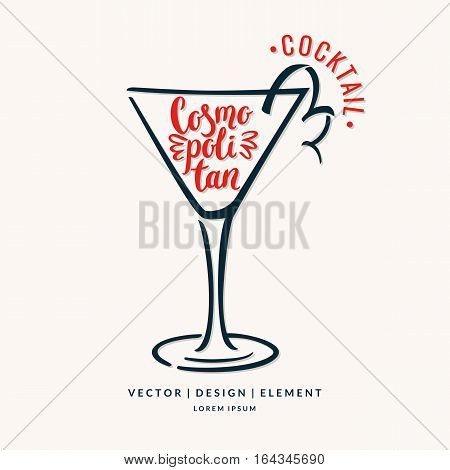 Modern hand drawn lettering label for alcohol cocktail Cosmopolitan. Calligraphy brush and ink. Handwritten inscriptions for layout and template. Vector illustration of text.