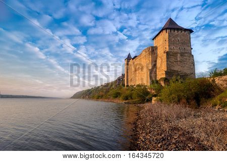 Khotyn fortress view from river. morning landscape with a view of the Khotyn Fortress as background