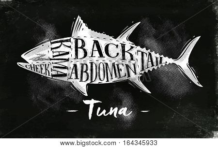 Poster tuna cutting scheme lettering cheek kama abdomen back tail in vintage style drawing with chalk on chalkboard background