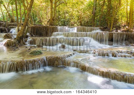 Multiple layers deep forest waterfall natural landscape background