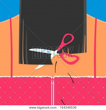 Scissors cut hair Back Girls. Vector Illustration