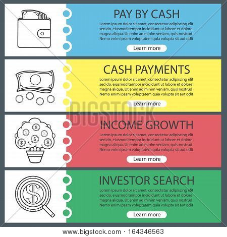 Banking and finance banner templates set. Easy to edit. Investor search, purse with money, cash, money tree. Website menu items with linear icons. Color web banner. Vector headers design concepts