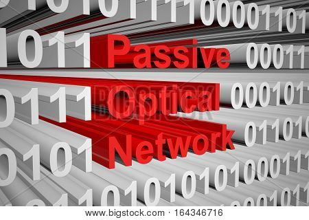 Passive optical network in the form of binary code, 3D illustration