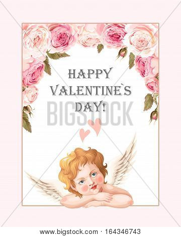 Valentines day card with high detailed vintage roses and cute cupid