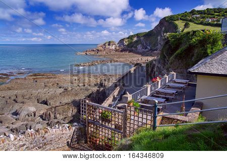 Area cafe with a beautiful view of the bay. Combe Martin. North Devon. UK