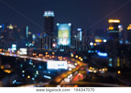 Night blurred lights big city downtown abstract background