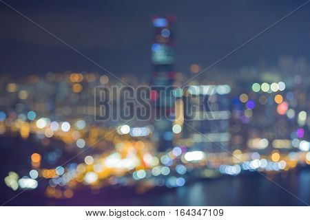 Blurred bokeh lights Hong Kong city aerial view abstract background