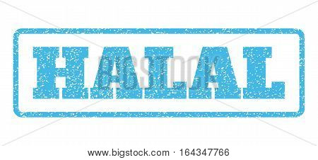 Light Blue rubber seal stamp with Halal text. Vector message inside rounded rectangular banner. Grunge design and dirty texture for watermark labels. Horisontal sign on a white background.