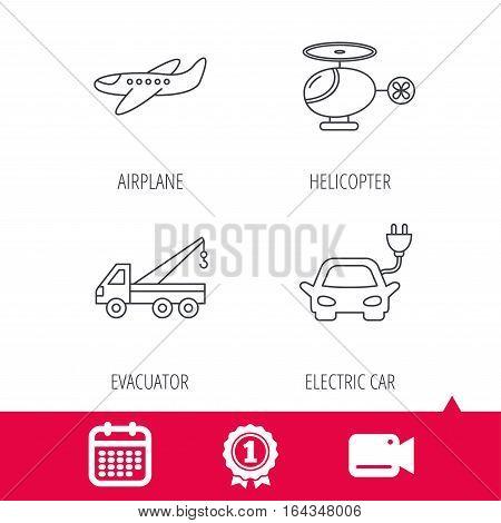 Achievement and video cam signs. Electric car, airplane and helicopter icons. Evacuator linear sign. Calendar icon. Vector