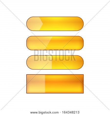 colored blank vector web buttons set - orange
