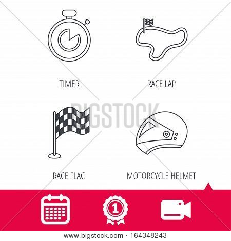 Achievement and video cam signs. Race flag, timer and motorcycle helmet icons. Race lap linear sign. Calendar icon. Vector