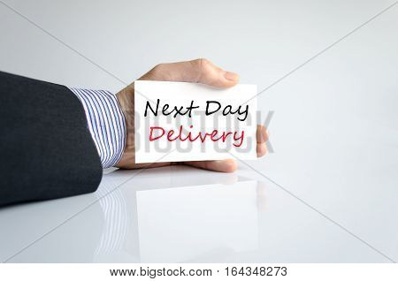 Next day delivery text concept isolated over white background