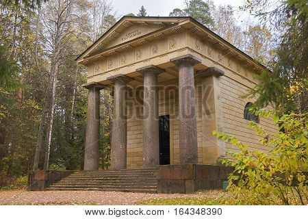 mausoleum to a husband and benefactor in Pavlovsk park, garden and park reserve in neighborhood of Saint Petersburg, Russia