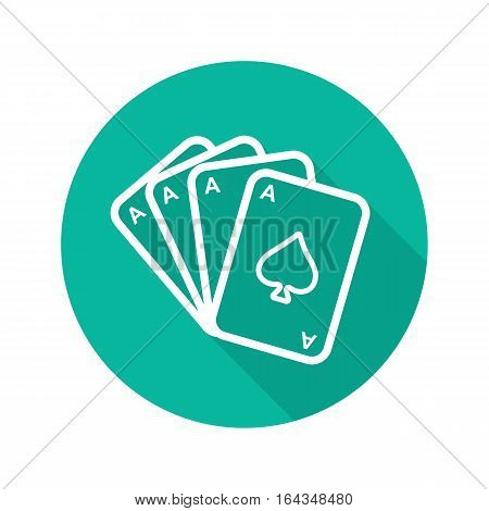 Poker ace quads flat linear long shadow icon. Playing cards deck. Casino sign. Vector line symbol