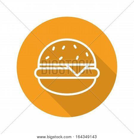 Hamburger flat linear long shadow icon. Fastfood sign. Vector burger line symbol
